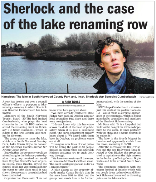 Croydon Guardian Sherlock Article
